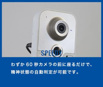 わずか60秒カメラの前に座るだけで、精神状態の自動判定が可能です。
